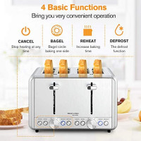 4 Slice Toaster, whall Stainless Steel, Bagel Toaster - 6 Bread Shade Settings, Bagel/Defrost/Reheat/Cancel Function with Dual Control Panels, 4 Extra Wide Slots, Removable Crumb Tray, for Various Bread Types (1500W, Sliver): Kitchen & Dining