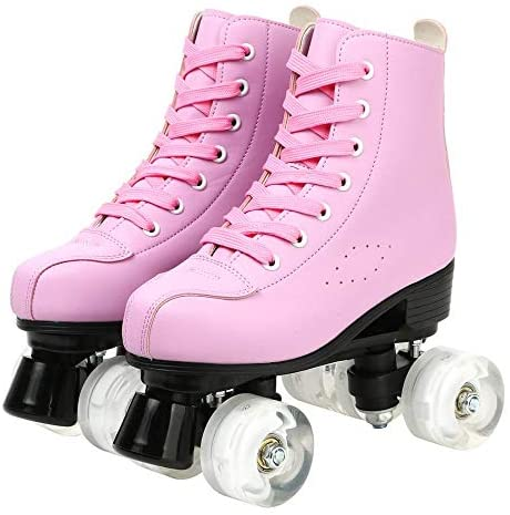 XUDREZ Roller Skates for Women Men Cozy PU Leather High-top Roller Skates for Beginner Double-Row PU Wheels, Professional Indoor Outdoor Roller Skates with Shoes Bag : Sports & Outdoors