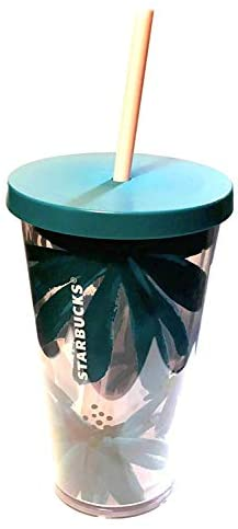 Starbucks Grande 16oz Tumbler Teal Daisy Flowers Peach Straw: Kitchen & Dining