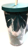 Starbucks Grande 16oz Tumbler Teal Daisy Flowers Peach Straw: Kitchen & Dining