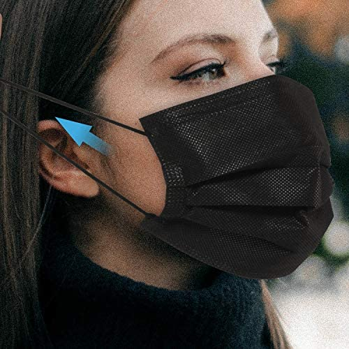 Heeind Black Disposable Face Mask Individually Wrapped, 3-PLY Protective Cover Masks with Elastic Earloop - Breathable Mouth Cover, Protection and Personal Health, Pack of 50 (Black)