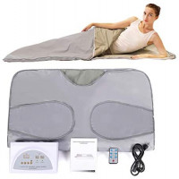 PinJaze Infrared Sauna Blanket, 71'' (L)×32'' (W) 2-Zone Digital Control Personal Sauna, Sauna Blanket for Weight Loss and Detox at Home, 2020 Upgraded Version 110V US Plug(with Button Battery)(Silver) : Garden & Outdoor