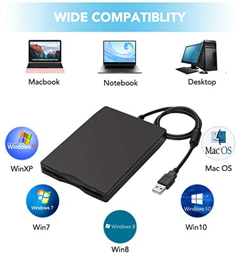 "USB Floppy Drive, MthsTec 3.5"" USB External Floppy Disk Drive 1.44 MB Slim Plug and Play FDD Drive for PC Windows 2000/XP/Vista/Windows 7/8/10/Mac(Black): Computers & Accessories"