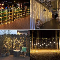 Fiee Curtain Lights,13ftx6.5ft Safety Window Curtain Icicle String Lights with Memory 30V 8 Modes for Christmas Wedding Party Family Patio Lawn Decoration(Warm White): Home & Kitchen