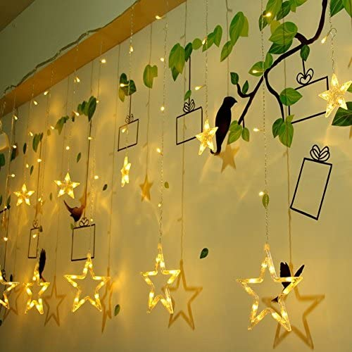 Curtain Lights, 12 Stars 138pcs 9.84Feet LED Waterproof Linkable Curtain String Lights,Fairy String Light for Christmas/Bedroom/Wedding/Party /Home/Indoor/Outdoor /Garden Backdrop: Home Improvement