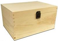 Unfinished Wood Classic Box with Hinged Lid for Arts, Crafts, Hobbies and Home Storage