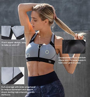 Yvette Women Racerback Sports Bras for High Impact Workout Fitness Front Zip Closure Wirless, Plus Size at Women's Clothing store