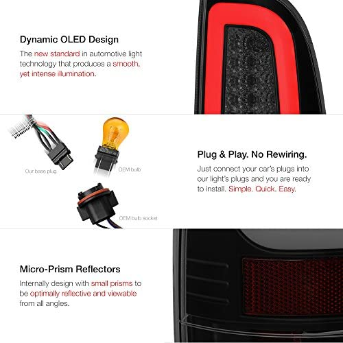 VIPMOTOZ Black Smoke Premium OLED Tube Tail Light Assembly + Full-LED License Plate Lamp Housing Replacement Bundle For 2008-2016 Ford F-250 F-350 F-450 Superduty Pickup Truck: Automotive