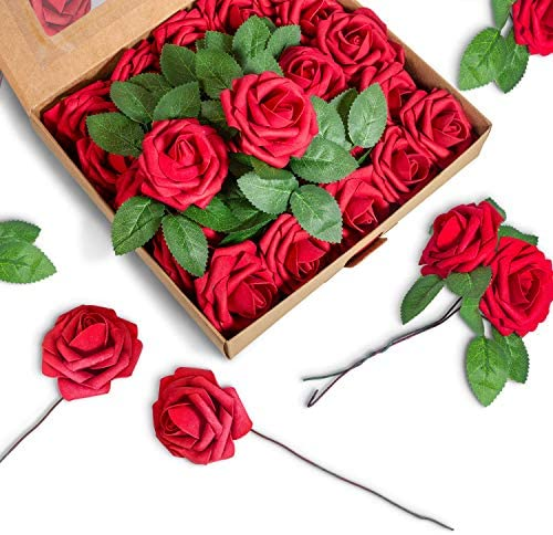 BeautifulLife 50pcs Artificial Flowers Dark Red Roses - Real Looking Fake Flowers, DIY Wedding Decor for Ceremony – Faux Flower Garland Reception Bouquet Centerpieces Baby Shower Party Decorations: Furniture & Decor