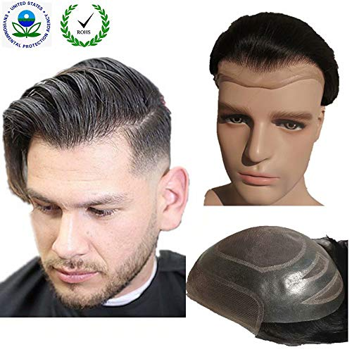 "Toupee for men Hair pieces for men N.L.W. European virgin human hair replacement system for men, 10"" x 8"" human hair toupee men hair piece. #2 Dark Brown : Beauty"