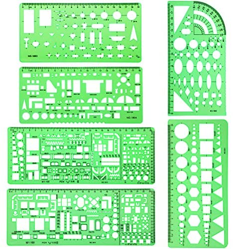 6 Pieces Plastic Measuring Templates Building Formwork Stencils Geometric Drawing Rulers for Office and School, Clear Green : Office Products