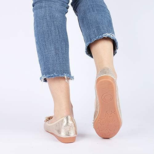 Stylein Womens Foldable Rhinestone Flats Ballet Bling Slip On Loafers | Flats