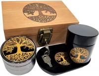 Pineapple Stash Box Combo with Lock - Glass stash jar Locking Stash Boxes - Engraved Wood Bamboo Box - Smell Proof Stash Box (Pineapple): Kitchen & Dining