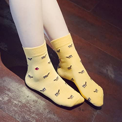Chalier 5 Pairs Womens Cute Animal Socks Colorful Funny Casual Cotton Crew Socks, Style 01, Free size at Women's Clothing store