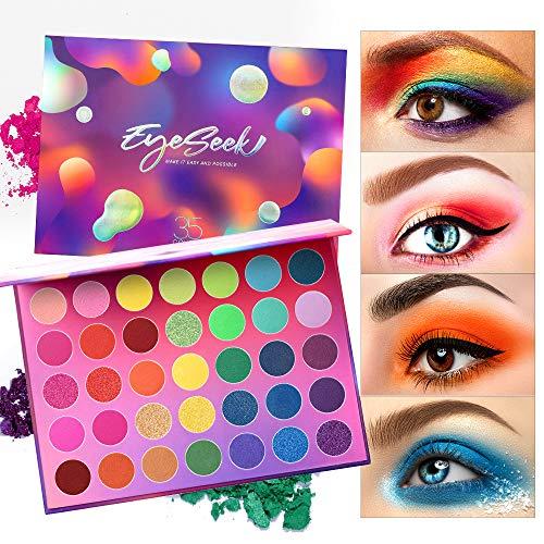 Eyeseek Colorful Eyeshadow Palette 35 Colors High Pigmented Makeup Palette Matte And Shimmer Glitter Eyeshadow Waterproof Long Lasting Eye Shadow Palette : Beauty