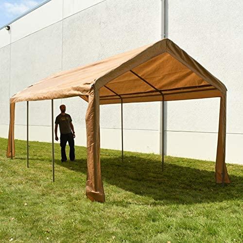 ALEKO CP1020BE Outdoor Event Carport Garage Canopy Tent Shelter Storage with Sidewalls 10 x 20 x 8.5 Feet Beige: Garden & Outdoor