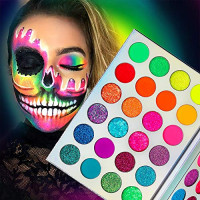 Neon Glitter Eyeshadow Palette Makeup, Afflano UV Glow Blacklight Highly Pigmented Palette Eye Shadow Pallets, Matte Bright Colorful Rainbow Blue Red Orange Purple Green Pressed Glitter Makeup Palettes : Beauty