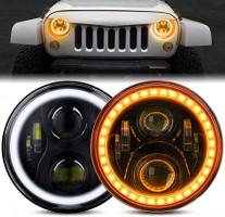 BEEYEO 7 Inch Round LED Headlight RGB Halo Angel Eyes DOT Approved Halo Headlights for Jeep Wrangler JK TJ LJ CJ Sahara Sport Rubicon Headlamp 1997~2017(2Pack RGB Jeep Headlights): Automotive