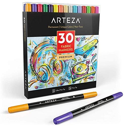 ARTEZA Fabric Markers, Set of 30 Assorted Colors, Permanent and Machine Washable Ink Ideal for Coloring Jeans, T-Shirts, Sneakers, Backpacks, Jackets, and More : Office Products