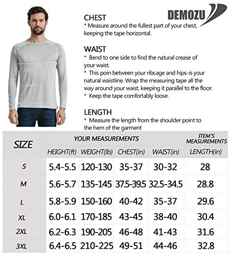 DEMOZU Men's Long Sleeve UPF 50+ Sun Protection Shirt Fishing Hiking Outdoor Performance UV Shirt: Clothing