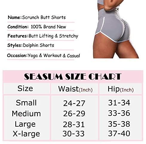 SEASUM Workout Booty Shorts for Women Scrunch Butt Lifting Yoga Short High Waist Sports Lounge Leggings at Women's Clothing store