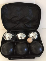 Unique 6 Ball 73mm Metal Bocce/Petanque Set with 3 Silver Balls and 3 Black Balls : Sports & Outdoors