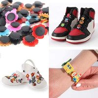 TMPCharms 100 Pcs Random PVC Shoe Charms+2 Pcs Wristbands+10 Pcs Shoe Lace Adapters,Charms for Teens Girls and Boys Fit for Croc Clog Shoes Decoration Disney,Marvel,Peppa Pig,Sports: Shoes