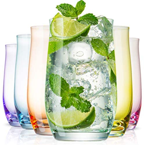 BENETI Exquisite Highball Colored Drinking Glasses Set of 6 (16oz)Colorful Water Glasses w/ Heavy Base, Cocktail Glasses, Collins Glasses, Tumbler Glasses, Glass Cups for Juice, Bar-ware Glassware Set: Highball Glasses