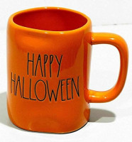 Rae Dunn By Magenta HAPPY HALLOWEEN 2019 Limited Edition Orange Ceramic LL Coffee Tea Mug With Black Letter: Kitchen & Dining