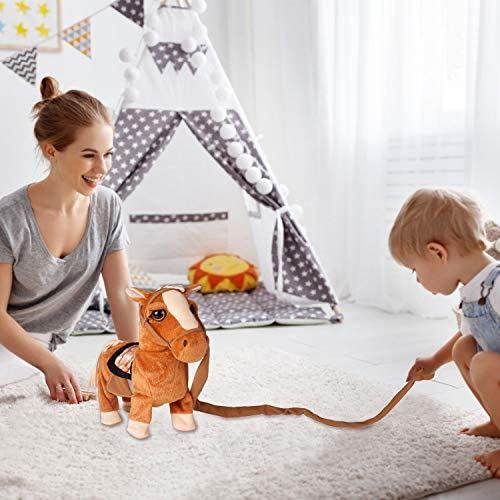 """Walking Pony Toy Musical Singing Dancing Plush Interactive Pony Walk Along Toy Horse with Leash Pony Robot Plush Stuffed Animal Shaking Head Buttocks Toy for Boys & Girls Kids or Toddlers H: 11.81"""": Toys & Games"""