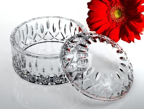 Studio Silversmith 43636 Round Crystal Jewel Box with Cover: Candy Dishes: Candy Dishes