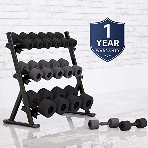 Cozy Castle 3 Tier Metal Steel Dumbbell Rack, Weights Storage Rack for Dumbbells, Dumbbell Rack Stand, Free Weight Stand : Sports & Outdoors