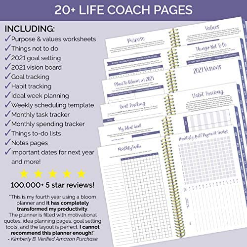 """HARDCOVER bloom daily planners 2021 Calendar Year Day Planner (January 2021 - December 2021) - Passion/Goal Organizer - Monthly & Weekly Inspirational Agenda Book - 6"""" x 8.25"""" - Woman with a Plan : Office Products"""