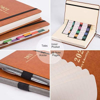 """2021 Planner - Planner 2021, Jan. 2021 - Dec. 2021, Weekly & Monthly Planner, 5.75"""" X 8.25"""", Calendar Stickers, A5 Premium Thicker Paper with Pen Holder, Inner Pocket and 88 Notes Pages : Office Products"""