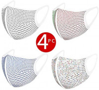 4PCS Fashion Women Face_Mask, Rhinestone Face_Cover Reusable Washable Anti Dust Breathable Face Protections for Outdoor Activtive Sport: Sports & Outdoors