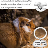 bobauna Guinea Pig Lover Gift Wheek Means I Love You Keychain Guinea Pig Jewelry Animal Lover Gift (Wheek Means I Love You): Jewelry