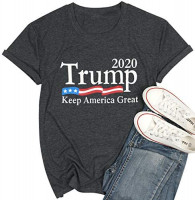FASHGL Trump Keep America Great T Shirt for Women 2020 Trump Supporters Tees Slogan Printing Short Sleeve Top at Women's Clothing store