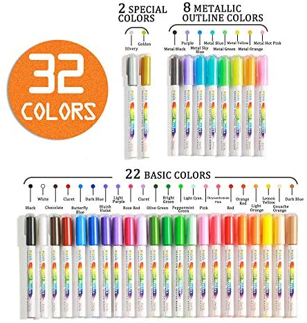 32 Colors Acrylic Paint Marker Pens- Include 10 Glitter Markers, For Rock Painting, Paper, Plastic, Ceramic, Glass, Wood, Metal, Canvas. Water Based, Acid Free Non Toxic, Quick Dry, Fine Tip: Office Products