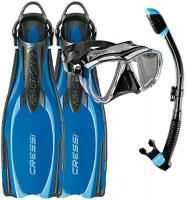 Divers Supply Reaction Fins w/EBS Big Eyes Mask & Supernova Dry Snorkel Package : Sports & Outdoors