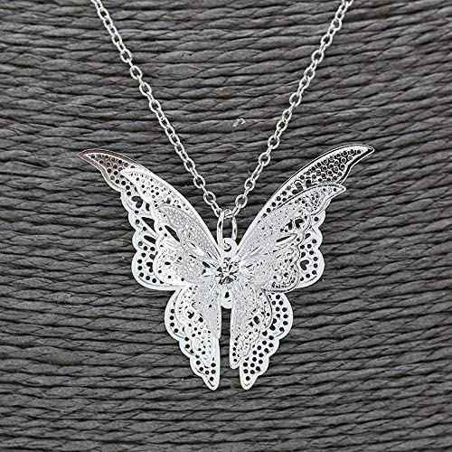 JESMING Silver Lovely Butterfly Pendant Necklace Jewelry for Women Girls Kids, Pendant Chain Necklace 20+2 inch Women Jewelry: Clothing
