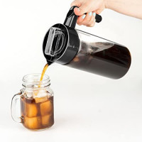 Vremi Cold Brew Iced Coffee Maker and Tea Infuser - 32 Ounce 1 Quart Glass Carafe Pitcher Airtight Lid and Spout - BPA Free Reusable Mesh Filter for Ground Coffee Loose Tea - Dishwasher Safe - Black: Kitchen & Dining