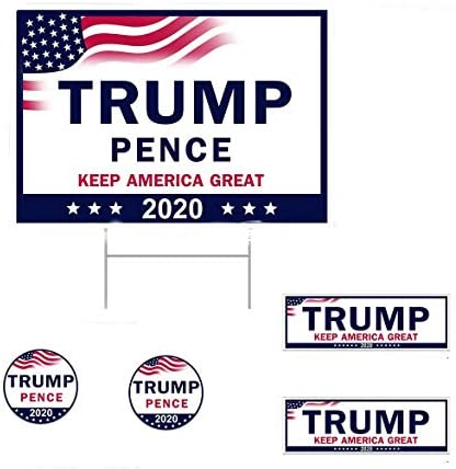 """Goldweather 17"""" x 13"""" Trump Yard Sign for 2020 Election Campaign   Keep American Great Donald Trump for President Lawn Signage w/Metal Stake   Water Resistant Ground Sign Holder (Multicolor): Home Improvement"""