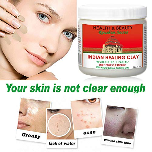 Indian Healing Clay Premium Mask Set by ROUSHUN – All-In-One Kit Includes 1lb ROUSHUN Indian Healing Clay, Bowl, Stir, Scoop, Brush, Silicone Face Mask Brush (6 In 1) : Beauty