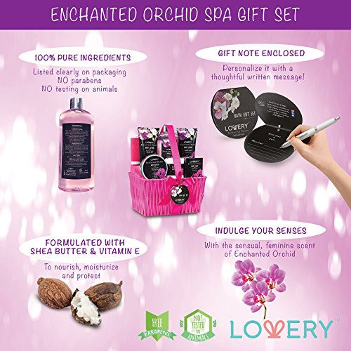 Gift Baskets for Women, Spa Gift Set for Her, Bath & Body Gifts for Women - Enchanted Orchid 9 Piece Set, Best Gift Ideas for Her, Great Wedding, Birthday & Anniversary Gift : Beauty