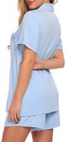 Ekouaer Pink Stripe Pajamas Set Short Sleeve Sleepwear Womens Button Down Nightwear Soft Pj Lounge Sets XS-XXL at Women's Clothing store