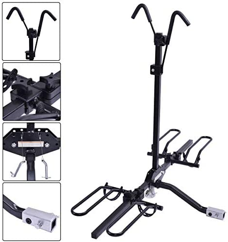 "Goplus 2-Bike Hitch Mount Rack Hitch Mounted Bike Carrier Fits 1-1/4"" and 2"" Hitch Receivers, Tray Style Smart Tilting Design Bike Rack: Automotive"