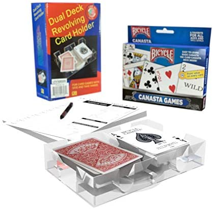 Canasta Bicycle Playing Cards Game Set That Includes 2 Deck of Canasta Cards with Point Values, a Revolving Tray Holder, and 50 Sheet Score Pad by All7s: Toys & Games