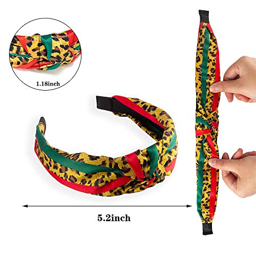 Designer Stripe Headbands with Leopard Print - Red Green Twist Cross Knot Hair Hoops - Fashion Fabric Design Plastic Wide Hard Headbands for Women, Girls, Party, Christmas - 3 PCS of Pack (Cute): Beauty