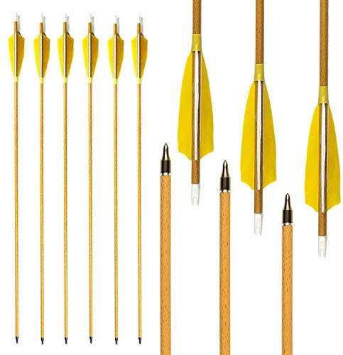"MS Jumpper 6 Pack 31 inch Archery Hunting Carbon Arrows, Wood Grain Carbon Shaft Spine 500 Fletching 4"" Real Feathers for Compound Recurve Bow : Sports & Outdoors"
