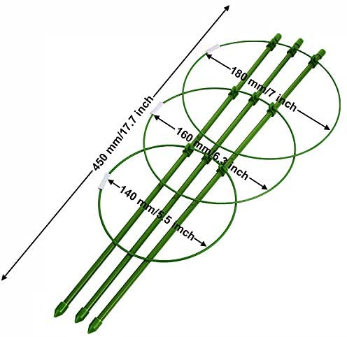 DSHE Plant Support 4 pcs 18 Inches Plant Cages with Adjustable Rings, Plant Fixed Climbing Tool, Plant Stake Support, Garden Trellis, Plant Support Cages, Plant Climbing Frame : Garden & Outdoor